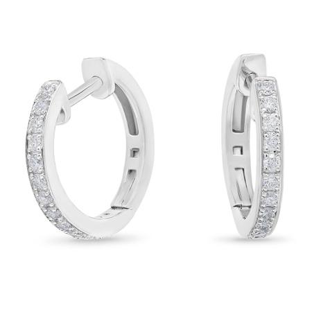 Grain Set Diamond Huggie Earrings