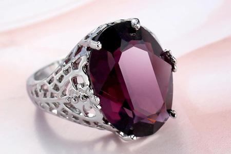 Grape Purple Round Zircon Ring - US8