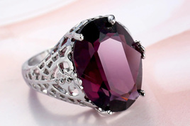 Grape Purple Round Zircon Ring - US8