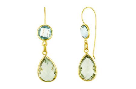 Green Amethyst and Blue Topaz Gold Hook Earrings