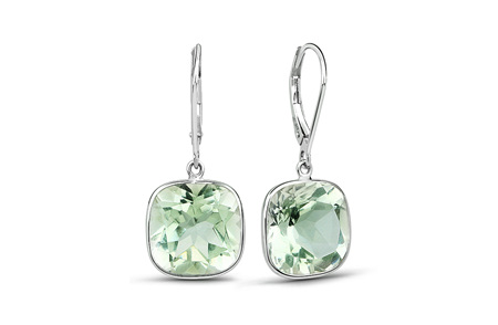 Green Amethyst and Gold Drop Earrings