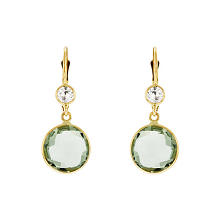 Green Amethyst and White Topaz Gold Drop Earrings