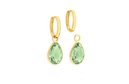 Green Amethyst Charm Yellow Gold Huggie Earrings