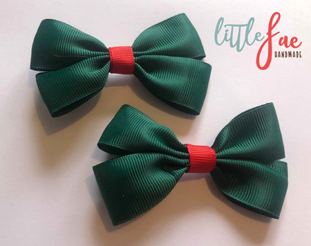 Green and red hairbows