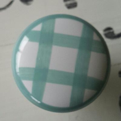 Green Check Ceramic Knob