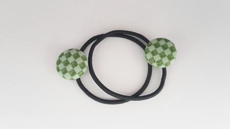Green Checkered Button Hair Ties