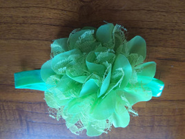 Green Chiffon & Lace Hairband - LAST ONE
