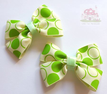 Green circle hair bow set