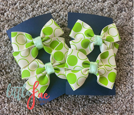 Green Circle Hair Bows
