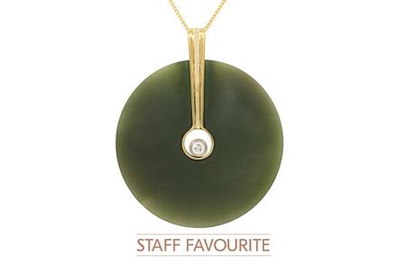 Green Circle Jade and Diamond Pendant