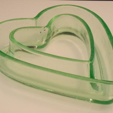 Green depression glass posy pot