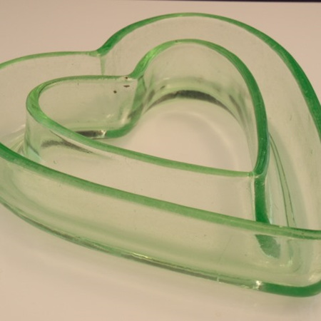 Green drepession glass posy pot