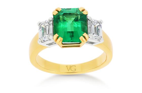 green emerald and diamond dress ring