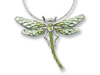 Green Enamel Diamond and Peridot Dragonfly Necklace