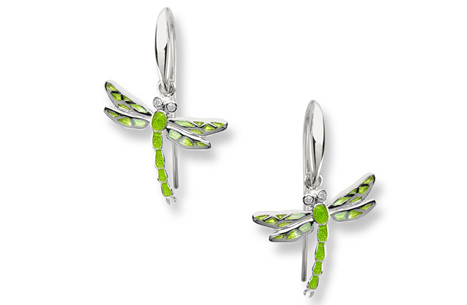 Green Enamel Dragonfly Earrings