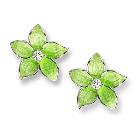 Green Enamel Topaz Flower Earrings