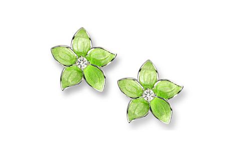 Green Enamel Topaz Flower Earrings