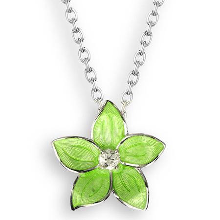 Green Enamel Topaz Flower Necklace