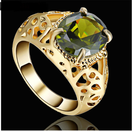 Green Gemstone With Gold Band Ring - US8