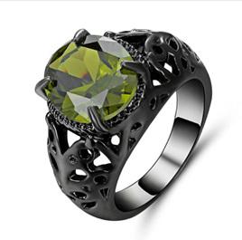 Green Gemstone With Gunmetal Band Ring - US8