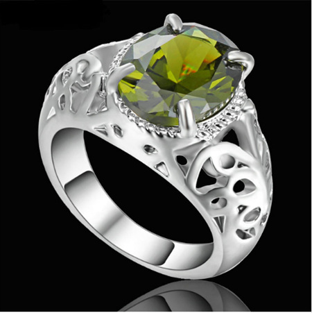 Green Gemstone With Silver Band Ring - US8