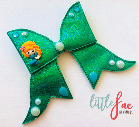Green Glitter Princess Bow Hairclip