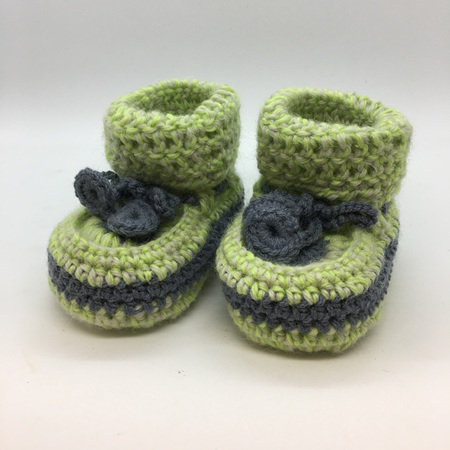 Green & Grey Crochet Baby Booties with Sheepskin Sole