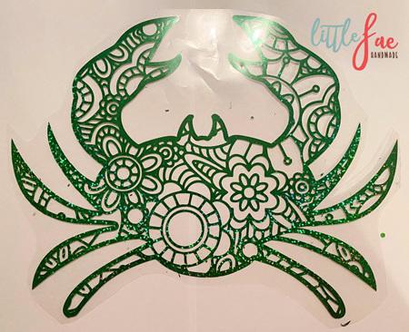 Green Holographic Mandala Crab Heat Press Vinyl