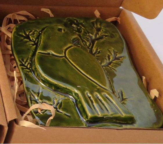 Green Kereru ceramic wall art