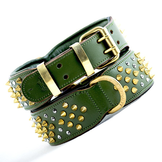 Green Leather Dog Collar with Gold Studs by Rogue Royalty