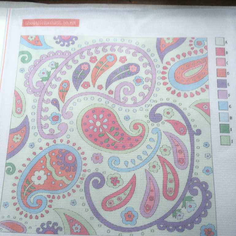 green paisley needlepoint canvas
