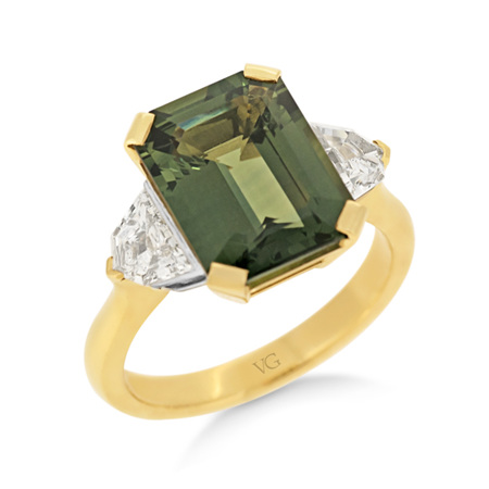 Green Sapphire and  Cadillac Diamond Ring