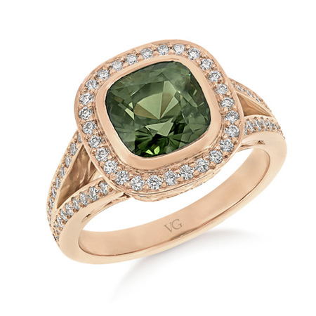 Green Sapphire and Diamond Cluster Ring