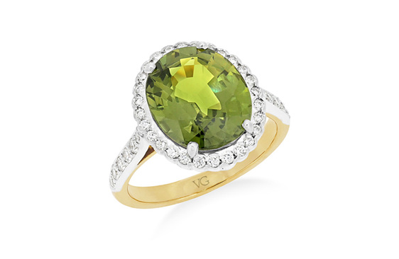 green sapphire and diamond dress ring