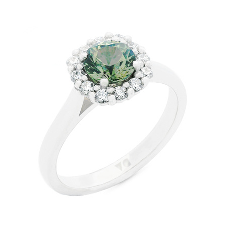Green Sapphire and Diamond Halo Ring