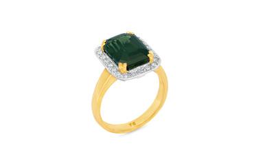 Green Sapphire and Diamond Halo Ring