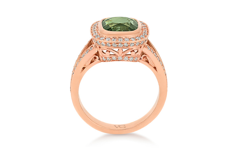 Green Sapphire Diamond Ring, Rose Gold Ring, Cluster Ring, Ladies Ring