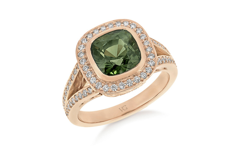 Green Sapphire Diamond Ring, Rose Gold Ring, Cluster Ring, Ladies Ring