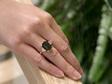 Green Sapphire Diamond Ring, Yellow Gold Ring, Ladies Ring