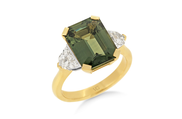 Green Sapphire Diamond Ring, Yellow Gold Ring, Ladies Ring