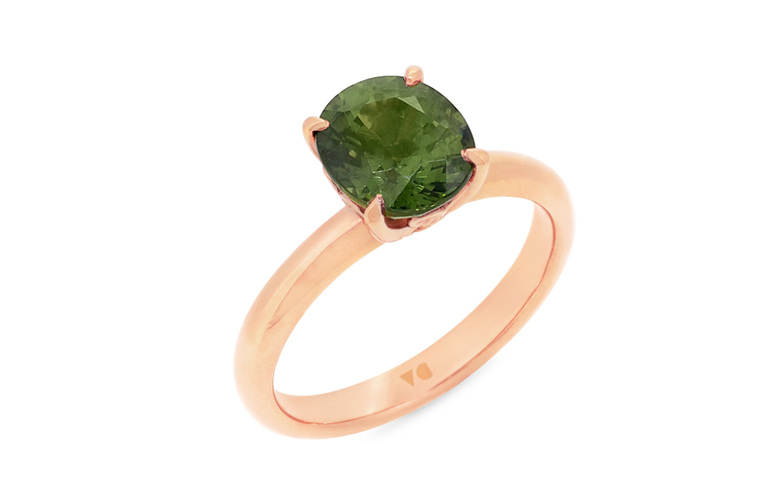 green sapphire rose gold solitaire ring
