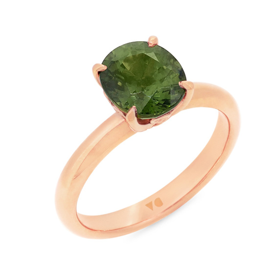 Green Sapphire Solitaire Ring