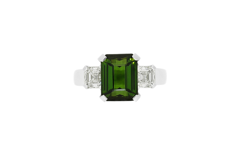 Green Tourmaline and Diamond Dress Ring