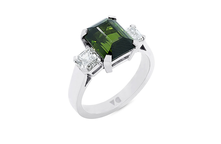 Green Tourmaline and Diamond Dress Ring