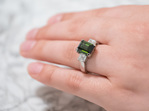 Green Tourmaline and Diamond Dress Ring showcased on hand