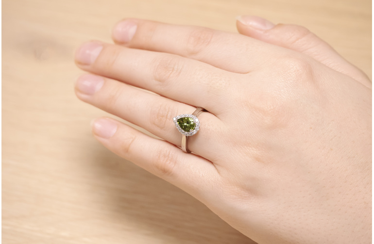 Green Tourmaline Diamond Halo Ring On Hand