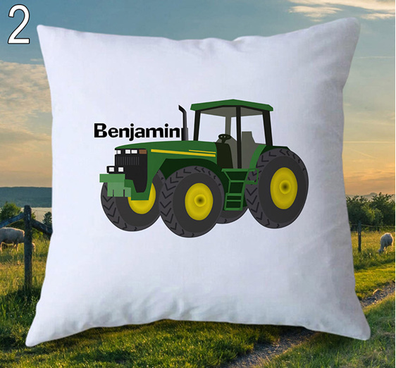 Green Tractor Personalised Cushion Cover