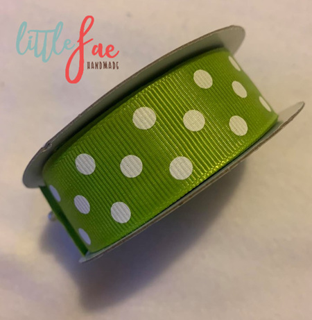 Green & White Polka Dot Hair Bows