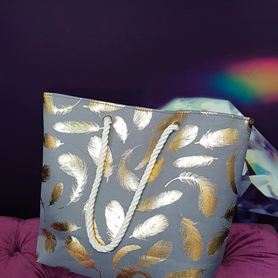 Grey and Gold Feather Bag