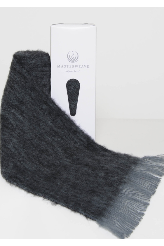 Grey/Black Marl Alpaca Scarf by Masterweave